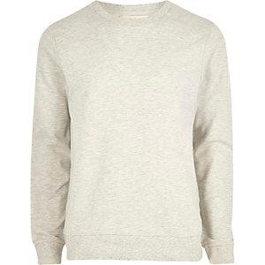 Hellgrau meliertes Sweatshirt mit Rundhalsausschnitt
