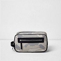 Camo print wash bag