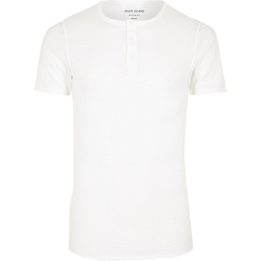 White grandad collar muscle fit T-shirt