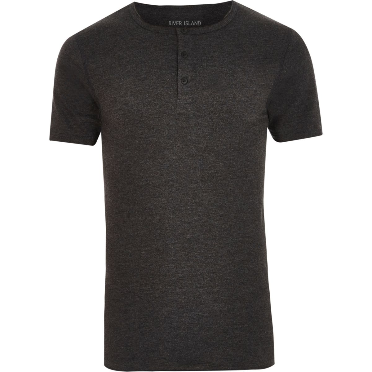 Dark grey grandad collar muscle fit T-shirt