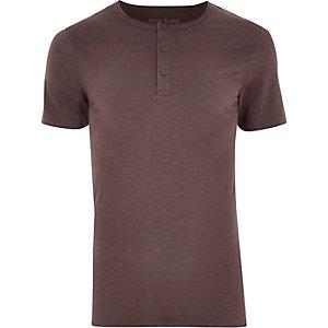 Dark pink grandad collar muscle fit T-shirt