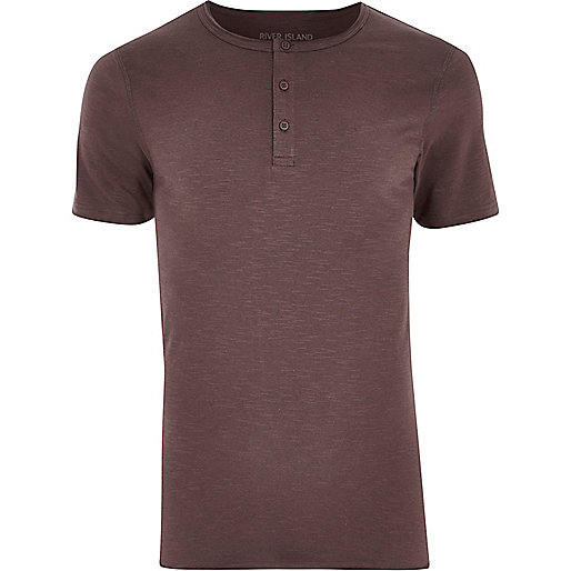Dark pink grandad collar muscle fit T-shirt