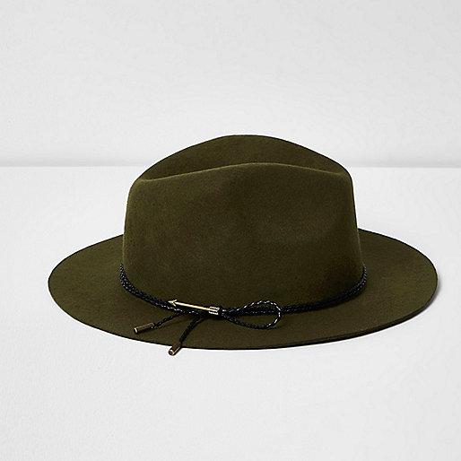 Khaki green felt fedora hat