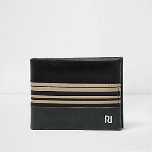 Black and green stripe wallet