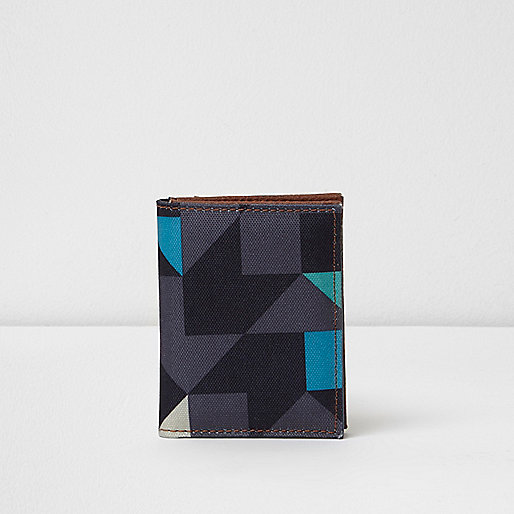 Blue geo print wallet