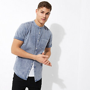 Blue acid wash grandad collar Oxford shirt