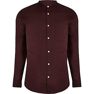 Burgundy grandad collar Oxford shirt