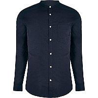 Navy grandad collar slim fit shirt