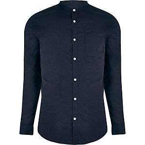 Navy grandad collar slim fit shirt