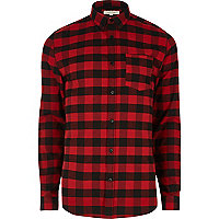 Red buffalo check muscle fit shirt