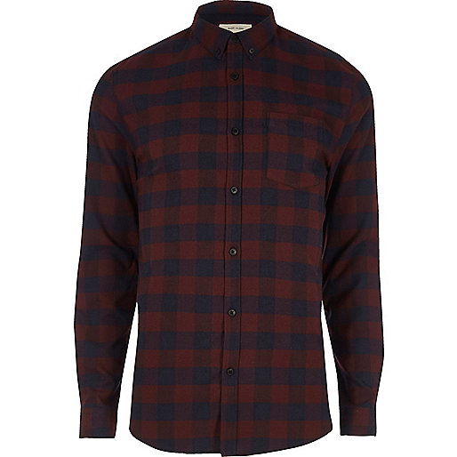 Purple check long sleeve muscle fit shirt