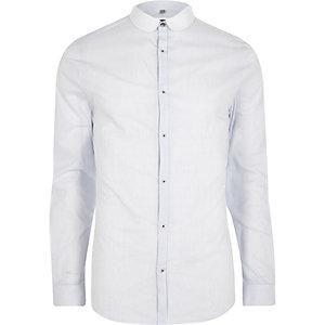 Chemise coupe skinny rayée bleu clair