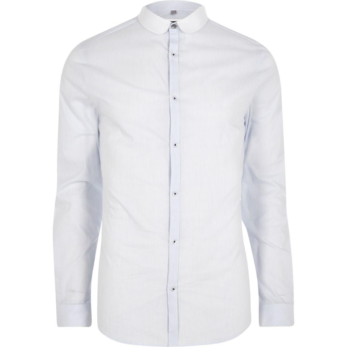 Light blue stripe skinny fit shirt