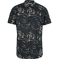 Black oriental print short sleeve shirt