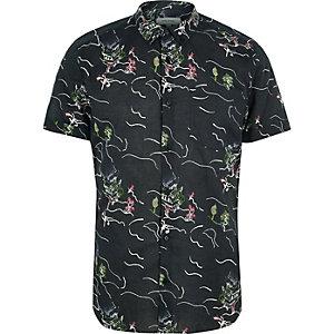 Schwarzes Kurzarm-Hemd mit orientalischem Muster