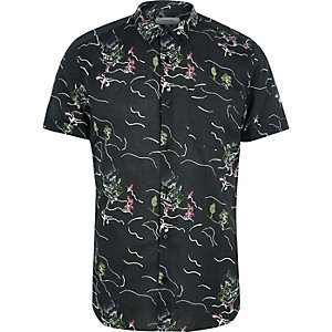 Black oriental print short sleeve shirt