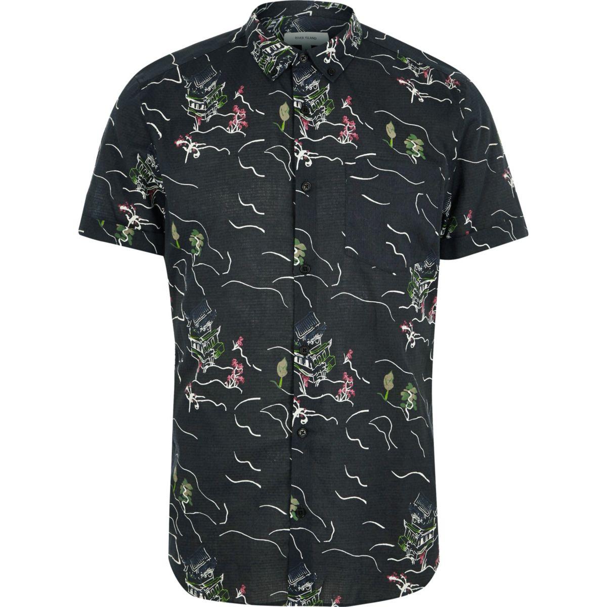 Zwart overhemd met korte mouwen en oosterse print