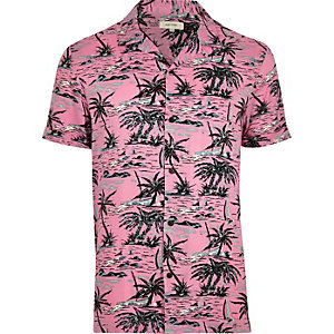 Pink tropical print short sleeve shirt