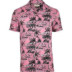 Chemise à imprimé tropical rose à manches courtes