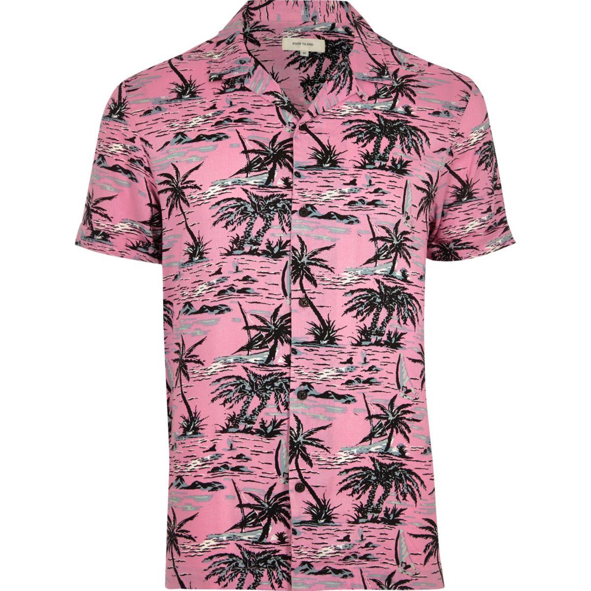 Pink tropical print short sleeve shirt