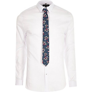 White muscle fit shirt with floral tie