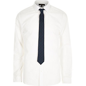 White poplin shirt with tartan tie