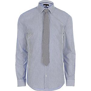 Blauw gestreept net slim-fit overhemd met stropdas