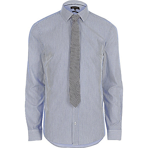 Blue slim fit stripe smart shirt with tie