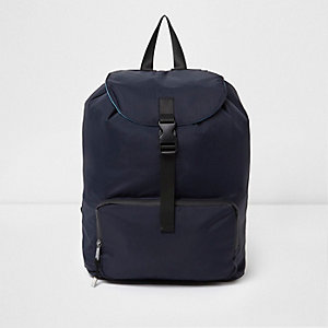 Navy flap top backpack
