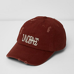 Burgundy 'Undone' embroidered distressed cap