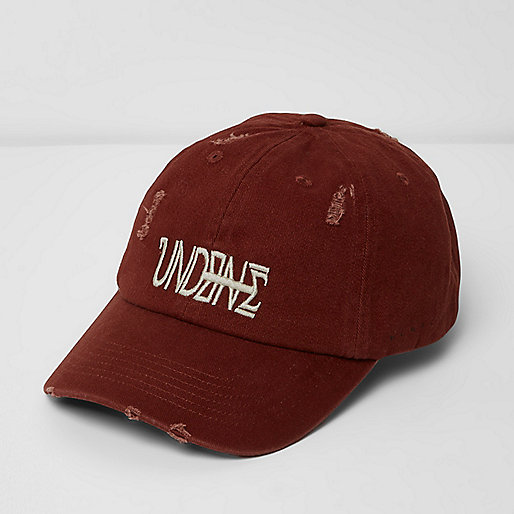 Burgundy 'Undone' embroidered distressed cap