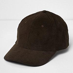 Khaki green corduroy cap