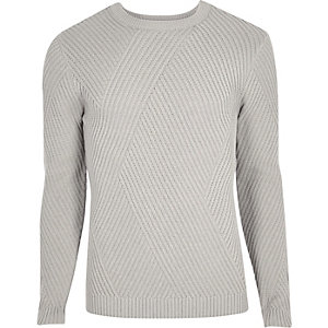 Grey ribbed panel slim fit jumper