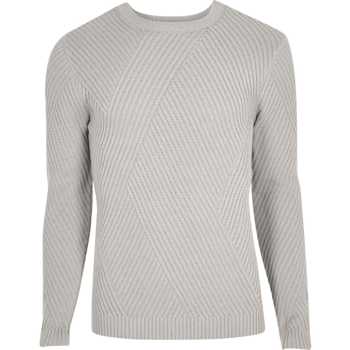Grey ribbed panel slim fit jumper