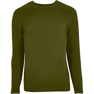 Green ribbed panel slim fit jumper