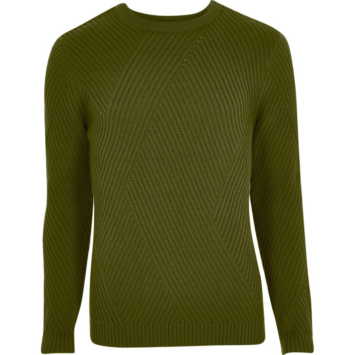 Green ribbed panel slim fit jumper