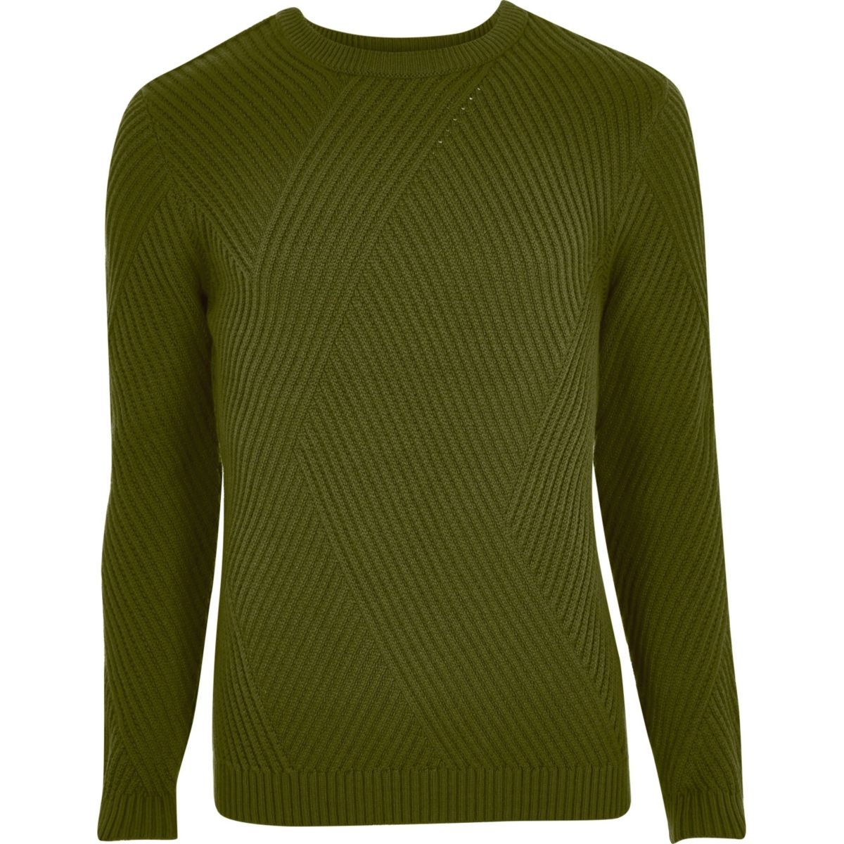 Green ribbed panel slim fit sweater