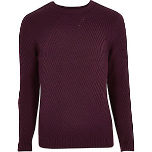 Dark red ribbed panel slim fit jumper