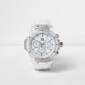 Lack-Armbanduhr mit durchsichtiger Lünette