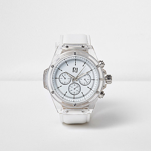 White patent clear bezel watch
