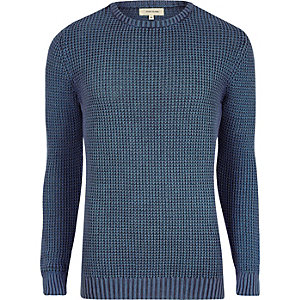 Blauer Slim Fit Strickpullover in Acid-Waschung