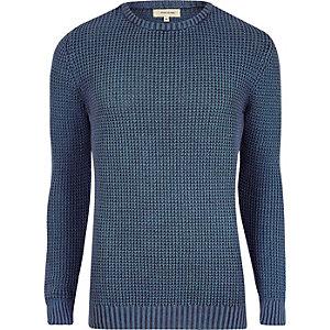 Blauwe acid wash slim-fit gebreide pullover