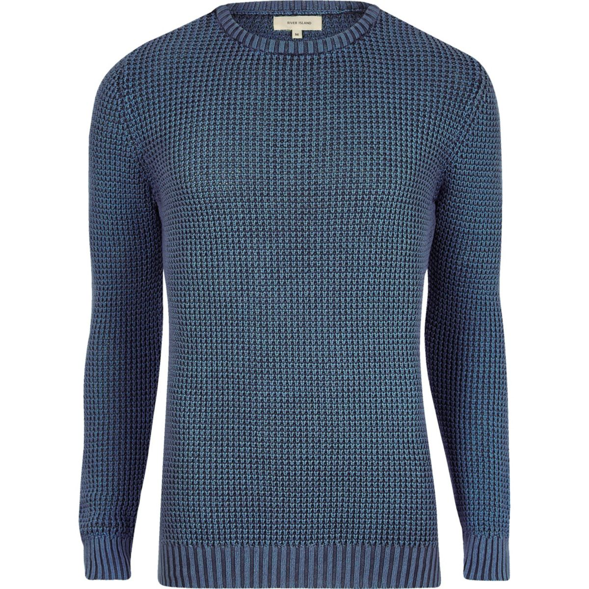 Blue acid wash slim fit knit sweater
