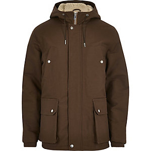 Brown borg hooded coat