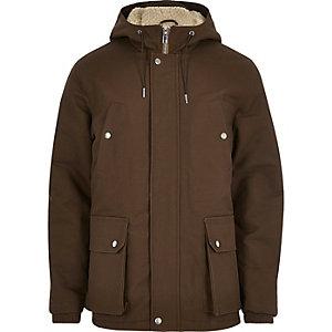 Brown fleece hooded coat