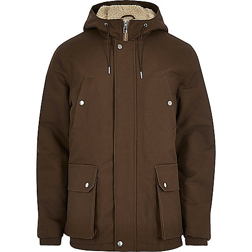 Brown borg hooded coat