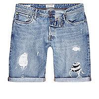 Jack & Jones – Blaue Jeansshorts im Used-Look