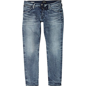 Jack & Jones – Mittelblaue Slim Fit Jeans