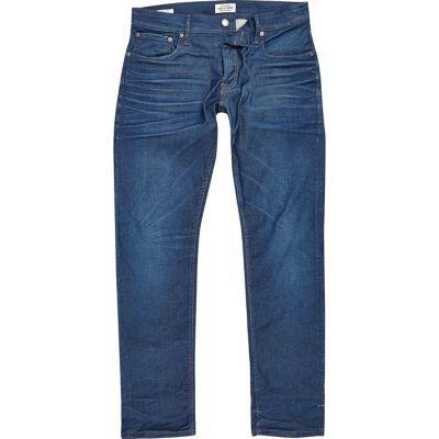 Jack and Jones Dylan slim-fit jeans met blauwe wash