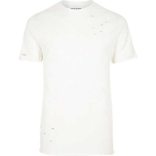Cream distressed slim fit T-shirt